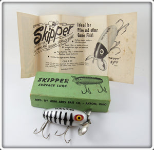 Vintage Hom Arts Bait Co Aluminum & Black Skipper Lure In Box
