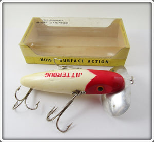Vintage Arbogast Red Head Wooden Musky Jitterbug Lure In Box 700 R