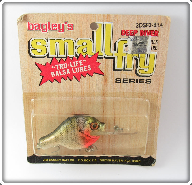 Vintage Bagley Deep Diver Small Fry Bream Lure On Card