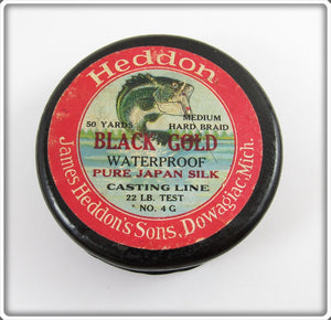 Heddon Black Gold Wooden Line Spool With Line