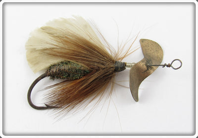 Vintage J.T. Buel Brown & White Spinning Fly Lure
