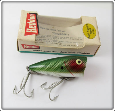 Vintage Heddon Green Shad Chrome Baby Chugger Jr Lure In Box 9522 NSD