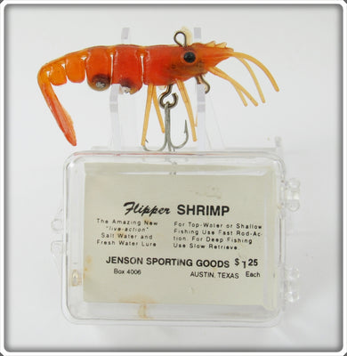 Vintage Jenson Sporting Goods Dark Amber Flipper Shrimp Lure