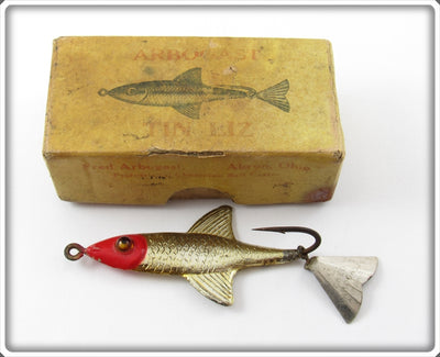 Vintage Fred Arbogast Red Head Tin Liz Lure In Box