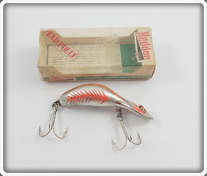 Heddon Chrome/Red Fluorescent Rib NFL Magnum Tadpolly In Correct Box