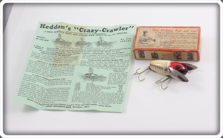 Heddon Red & White Shore 2102XS Crazy Crawler In Correct Box With Green Paper