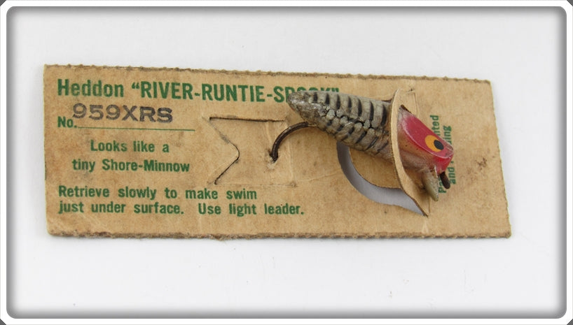 Vintage Heddon Silver Shore Runtie Spook Lure On Card 959XRS