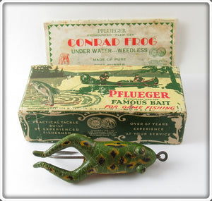 Vintage Pflueger Conrad Frog Lure In Correct Box 767 Natural Green