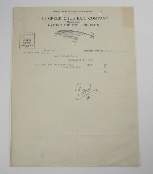 Creek Chub Bait Company Invoice For Yellow Shiner Wiggler