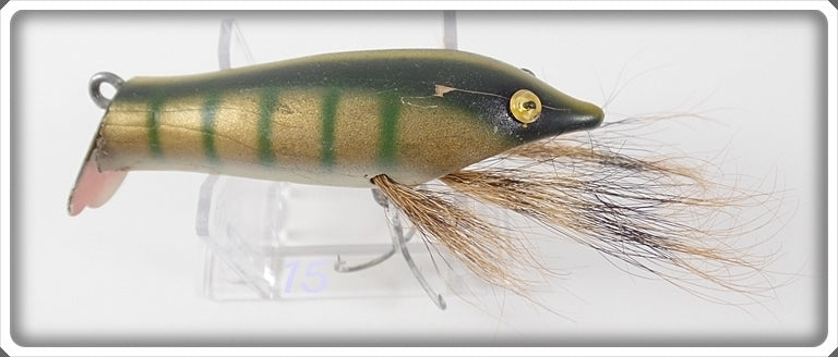 Vintage Wright & McGill Co Fishing Tackle Gold Green Bass Nabber Lure