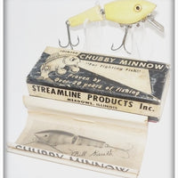 Vintage Streamline Products Inc White Jointed Chubby Minnow Lure