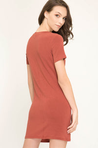 Macy Rust Front Tie T Shirt Dress