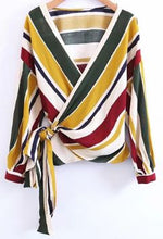 Kimberly Striped Side Wrap Top