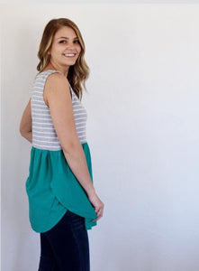 Amber Striped Color Block Tank Top