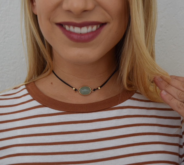 Teal Stone with Leather Cord Choker