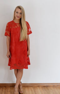Fire Lace A-Line Dress in Red