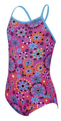 Zoggs Junior Girls Folktale Strappy Hi Front Pink Swimming Costume - Swimming Fun