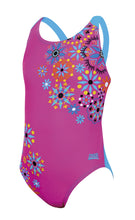 Zoggs Junior Girls Folk Tale Flyback Pink & Blue Swimming Costume - Swimming Fun