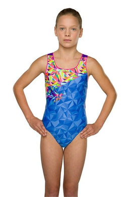 Maru Girls Nectar Pacer Auto Back Blue/Pink Swimming Costume - Swimming Fun