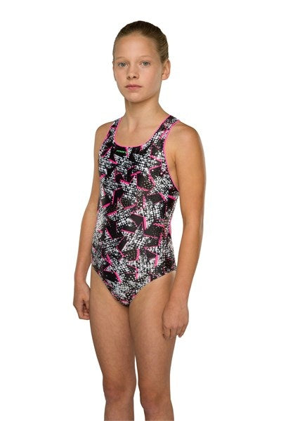 Maru Girls Twinkle Twinkle Sparkle Rave Back Black Swimming Costume - Swimming Fun