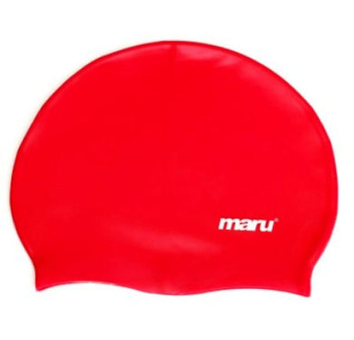Maru Solid Silicone Swim Caps Red - Swimming Fun