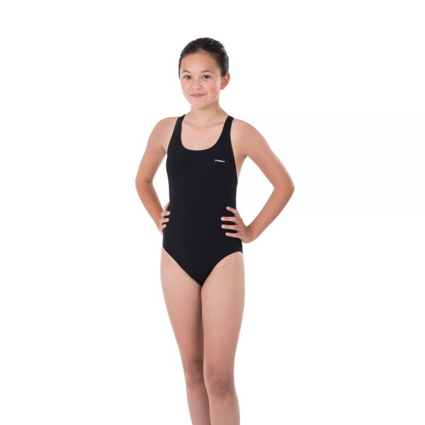 Maru Girls Solid Pacer Open Back Swimming Costume (Black) - Swimming Fun