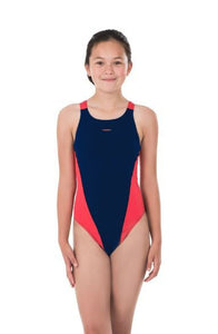 Maru Girls Team Pacer Vault Back Girls Swimsuit (NAVY/RED) - Swimming Fun