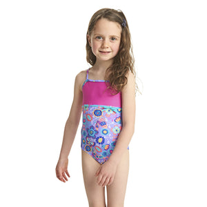 Zoggs Tots Girls Wild Classicback Lilac/Multi Swimming Costume - Swimming Fun