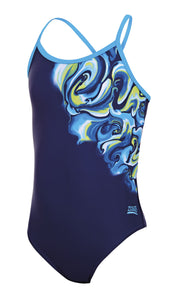 Zoggs Junior Girls Tie Marbling Sprintback Swimming Costume - Swimming Fun