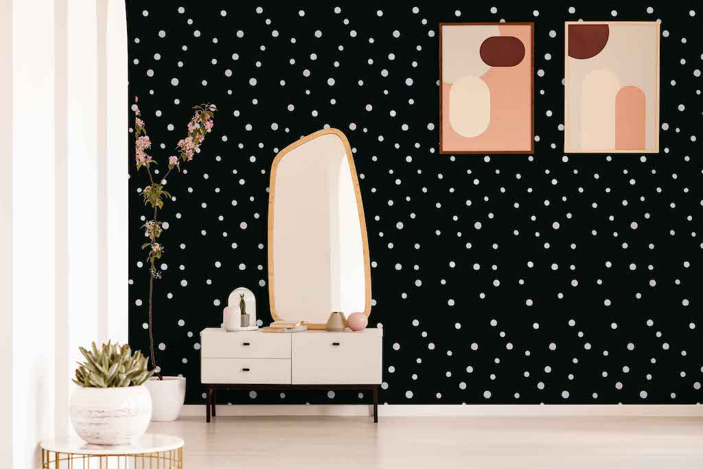 Polka dot wallpaper black and white peel and stick