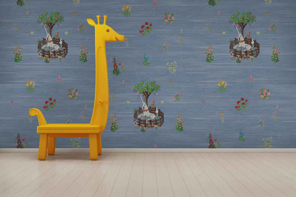 Unicorn Peel and Stick wallpaper blue