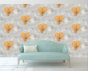 Gold and Purple Heart Wallpaper Peel and Stick MD000214