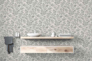 Morrissey Steel Gray Leaf Peel and Stick Wallpaper MD41880