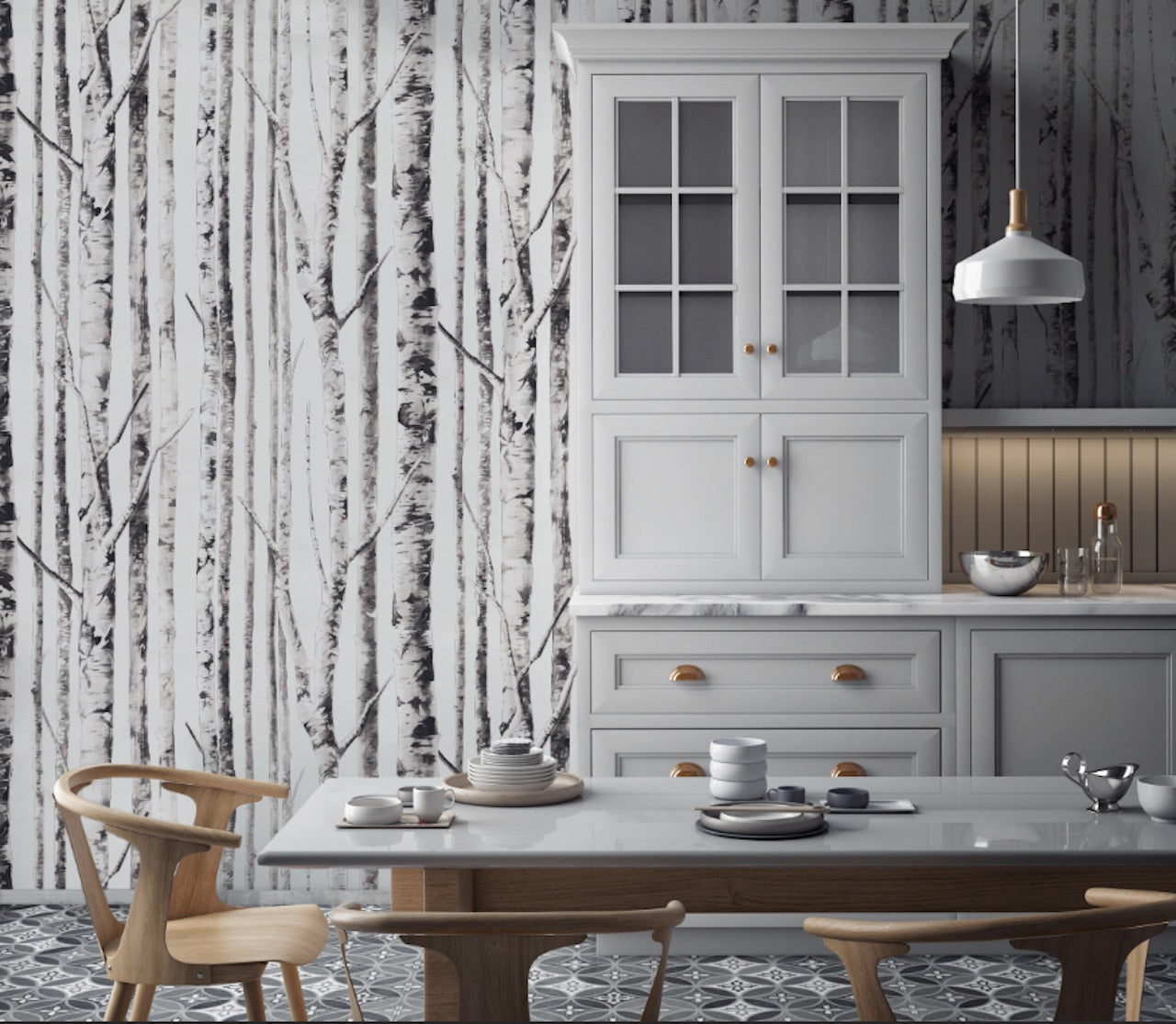 Ivory Birch Peel and Stick Wallpaper MD000144
