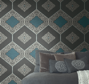 Navy Wallpaper Damask Pattern