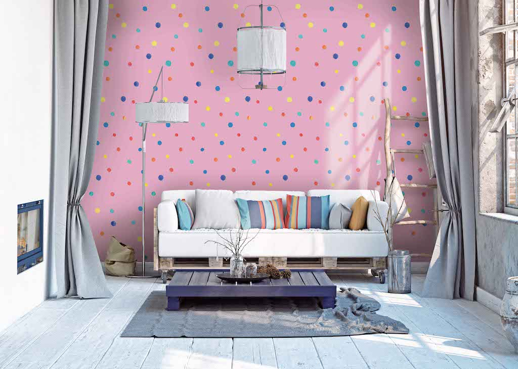 Pink Wallpaper Peel and Stick Polka Dot
