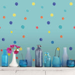 Blue wallpaper polka dot pattern peel and stick