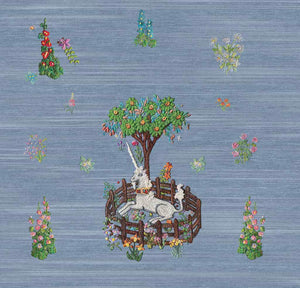 Unicorn wallpaper peel and stick nursery blue