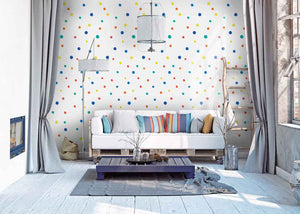 Peel and stick wallpaper polka dot pattern multi colored