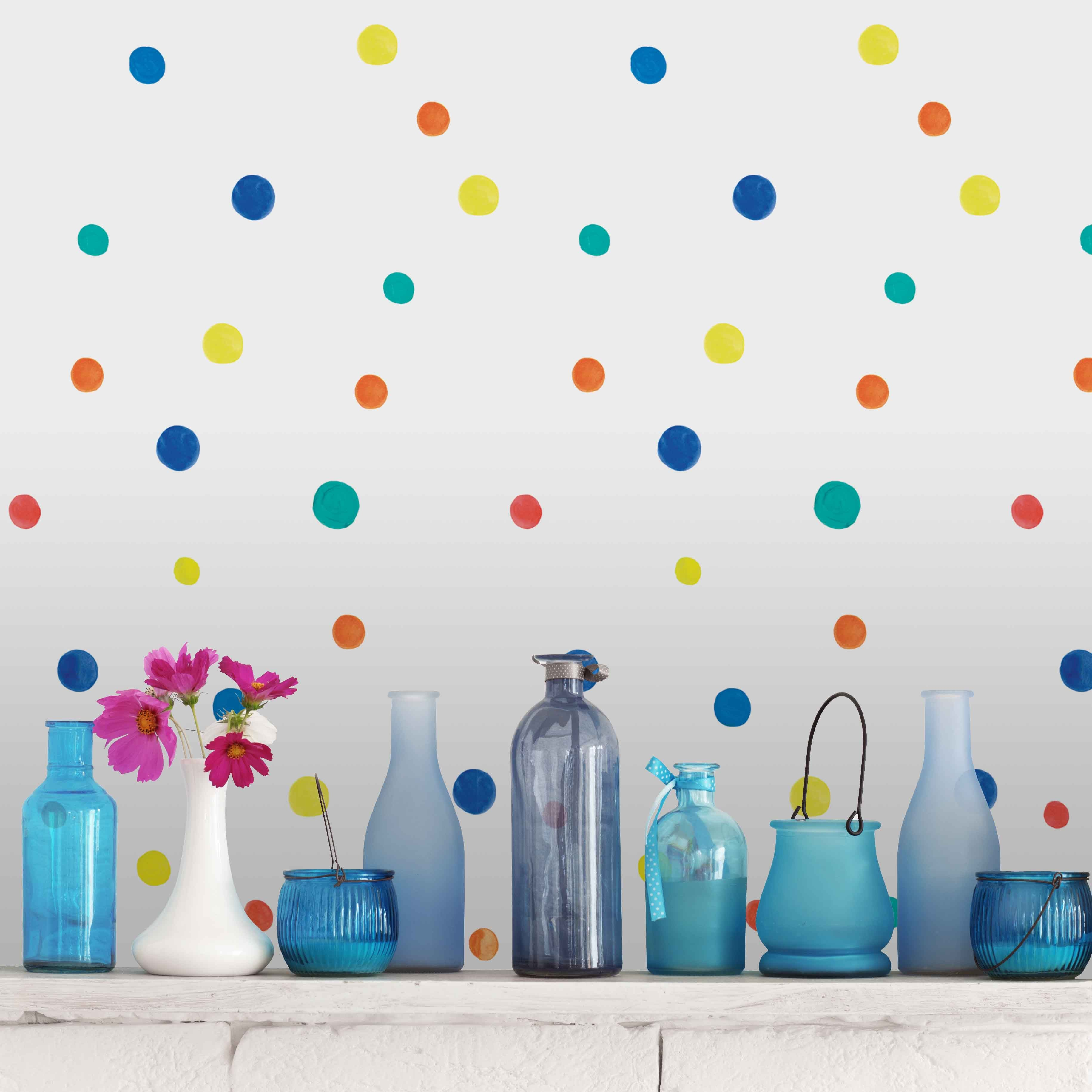 Colorful Polka Dot Pattern Wallpaper Removable