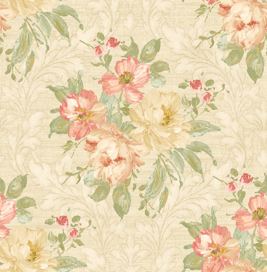 Painted Flowers Damask MF40304
