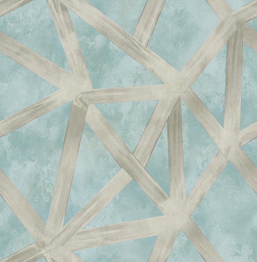Geometric blue and silver wallpaper