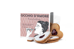 Occhi d'Amore: vegan shortbreads with a dollop of red fruit compote.