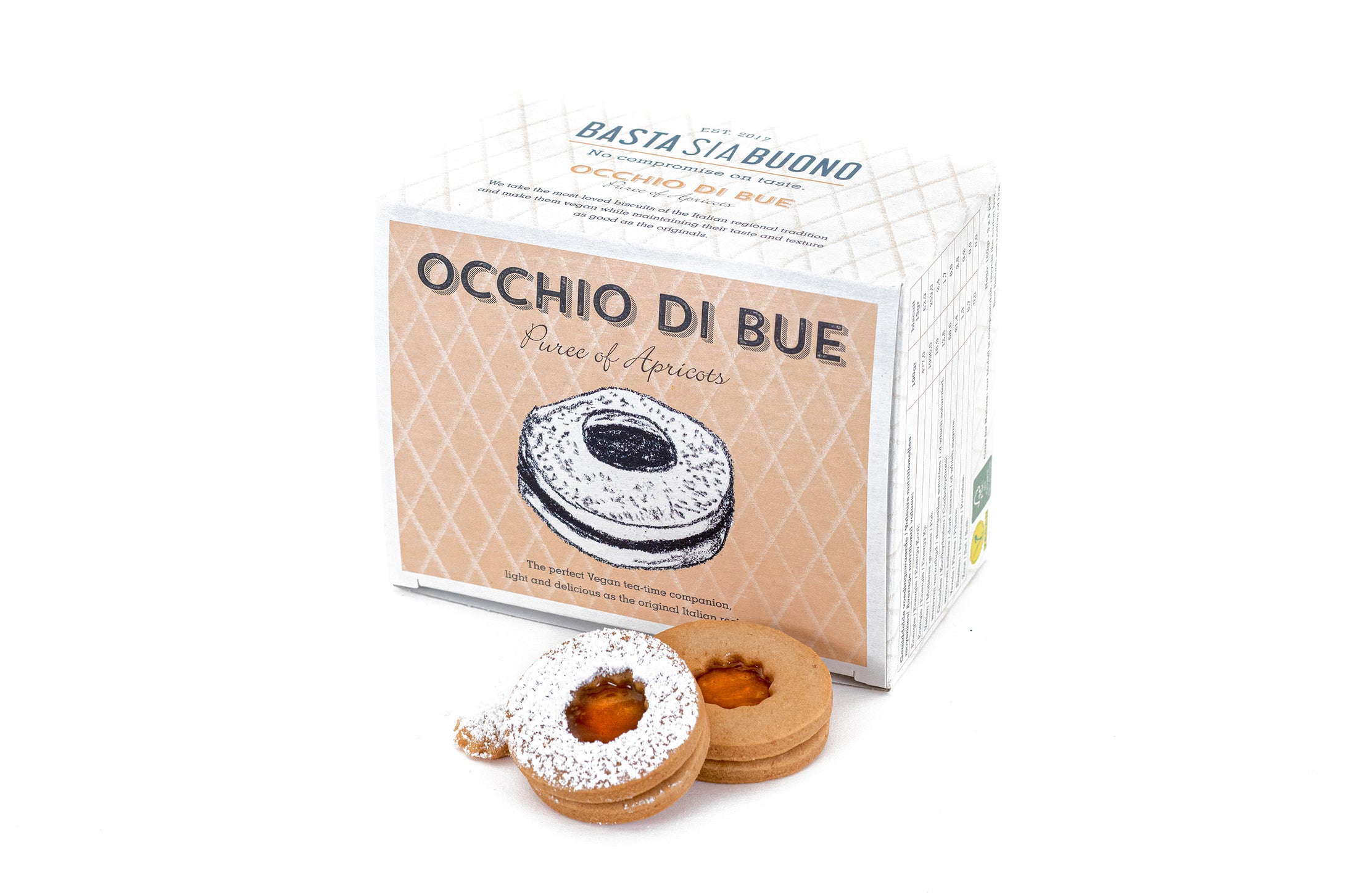 Occhi di Bue: small eco-box of vegan shortbread with apricot compote