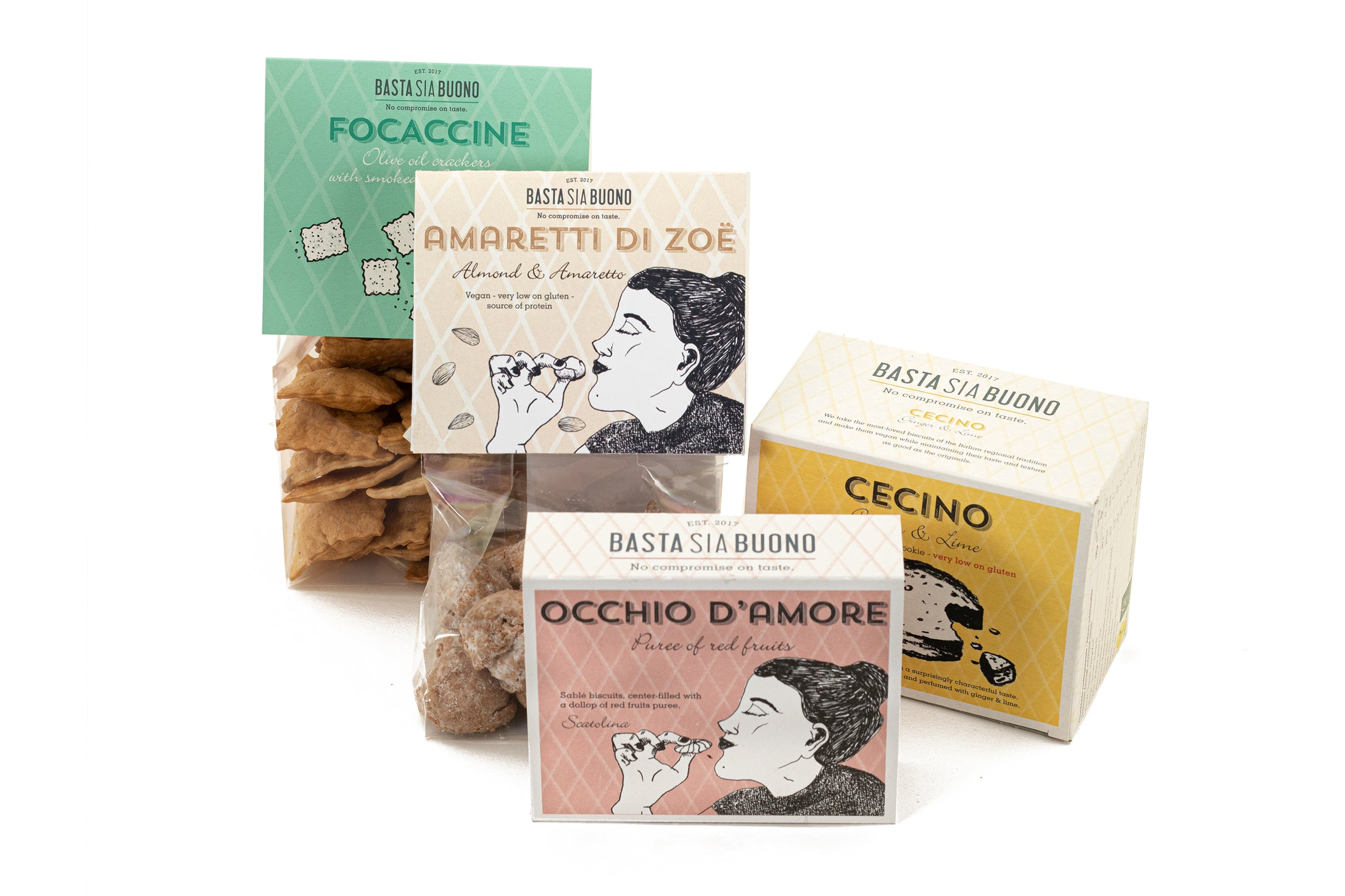 A selection of our vegan biscuits and crackers with personalised wishcard