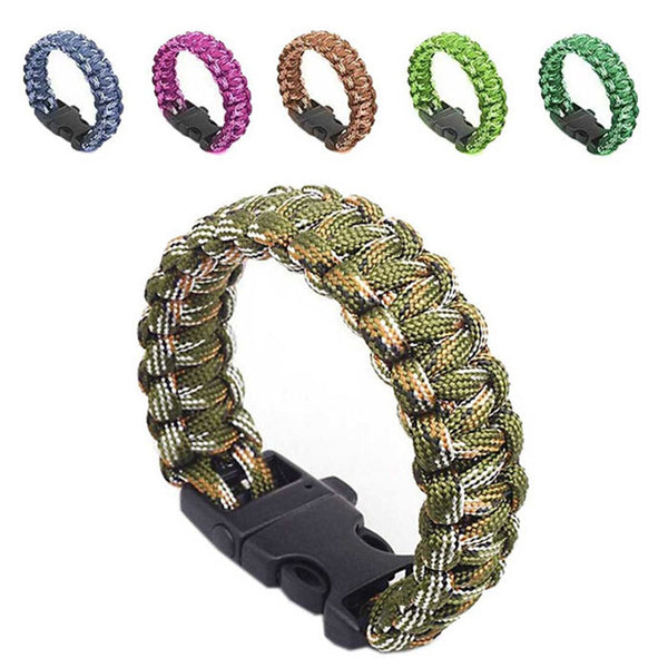 Outdoor Self-Rescue Parachute Cord Bracelet with Whistle Buckle