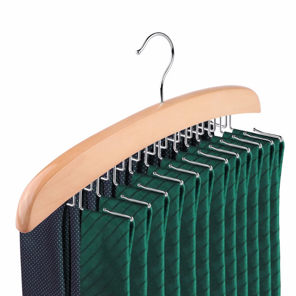 Wooden Tie Rack- 24 Hooks, Also for Belts & Scarfs- Closet Organizer by Aha Product