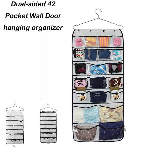 Dual-sided 42 Pocket Hanging Organizer- Transparent Storage: Aha Product