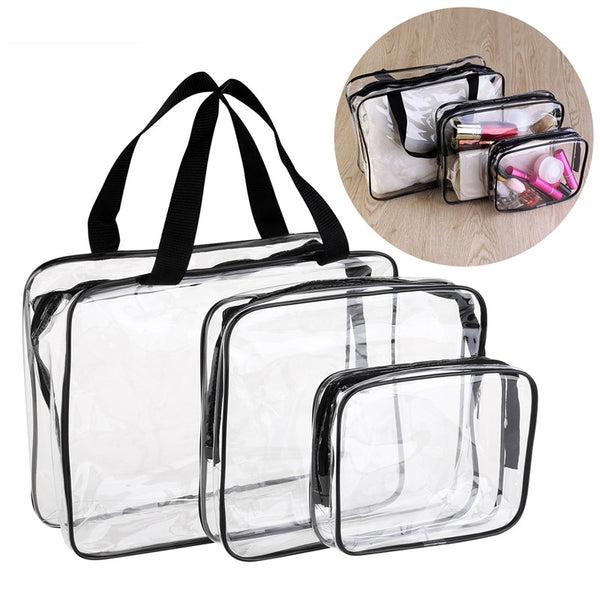 3-in-1 PVC Transparent Cosmetic Tote & Toiletry Organizer: Aha Product