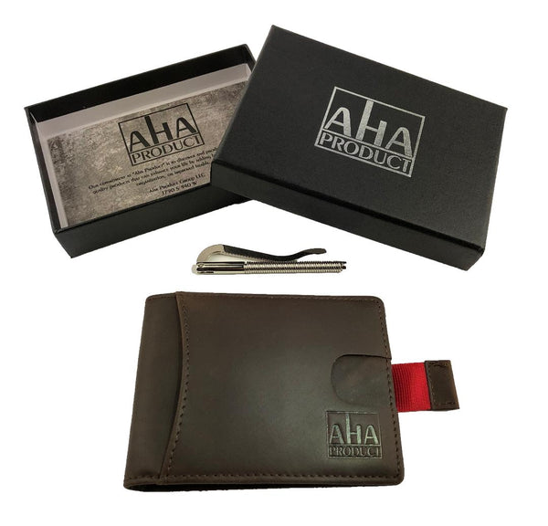Ultra slim leather wallet by Aha Product with RFID blocking, removable money clip, highest grade mocha brown leather, quick card release tab, and plenty of room for everything you need!